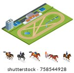 isometric exterior racecourse... | Shutterstock .eps vector #758544928