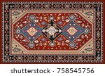 persian carpet  tribal vector... | Shutterstock .eps vector #758545756