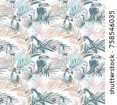 seamless pattern of ink hand... | Shutterstock . vector #758546035