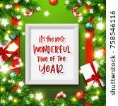 christmas greeting card. xmas... | Shutterstock .eps vector #758546116