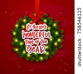 christmas greeting card. xmas... | Shutterstock .eps vector #758546125
