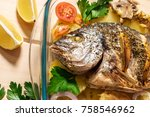 a delicious whole baked fish.... | Shutterstock . vector #758546962