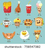 cartoon funny food characters... | Shutterstock .eps vector #758547382