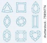 vector gemstones on graph paper | Shutterstock .eps vector #75854776