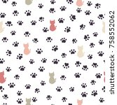 cats and paw print seamless... | Shutterstock .eps vector #758552062
