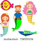set of cute mermaids and... | Shutterstock .eps vector #758559196