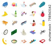 active life icons set.... | Shutterstock .eps vector #758563162