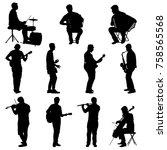 silhouettes street musicians... | Shutterstock .eps vector #758565568