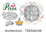 hot pizza set with ingredients... | Shutterstock .eps vector #758568148