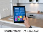 man hand holding tablet pc with ...   Shutterstock . vector #758568562