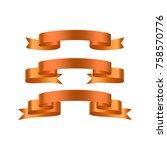 gold  yellow glossy ribbon... | Shutterstock .eps vector #758570776
