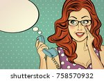 red haired woman with glasses ...   Shutterstock .eps vector #758570932