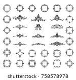 a huge rosette wicker border... | Shutterstock . vector #758578978