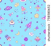 universe seamless pattern with... | Shutterstock .eps vector #758580652