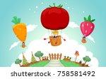 illustration of stickman kids...   Shutterstock .eps vector #758581492