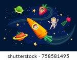 illustration of stickman kids... | Shutterstock .eps vector #758581495