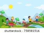 illustration of stickman kids... | Shutterstock .eps vector #758581516