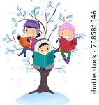 illustration of stickman kids... | Shutterstock .eps vector #758581546