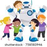 illustration of stickman kids... | Shutterstock .eps vector #758583946