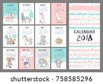 Stock vector monthly creative calendar with cute animals concept vector vertical editable template 758585296