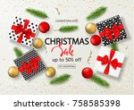 christmas sale poster with gift ... | Shutterstock .eps vector #758585398