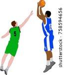 basketball players illustration ... | Shutterstock .eps vector #758594656