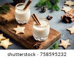 eggnog with cinnamon and nutmeg ... | Shutterstock . vector #758595232