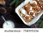 cinnamon rolls or cinnabon for... | Shutterstock . vector #758595256