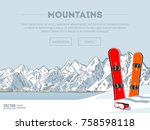 winter sport objects. two red... | Shutterstock .eps vector #758598118