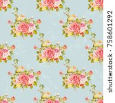 seamless floral pattern with... | Shutterstock .eps vector #758601292