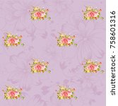 seamless floral pattern with... | Shutterstock .eps vector #758601316