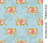 seamless floral pattern with... | Shutterstock .eps vector #758601322