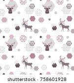 Reindeer Geometric Trendy...
