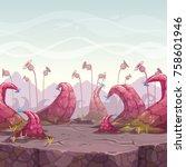 cartoon fantasy landscape with... | Shutterstock .eps vector #758601946