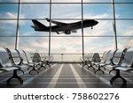 empty airport departure lounge... | Shutterstock . vector #758602276
