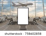 airport departure lounge. blank ... | Shutterstock . vector #758602858