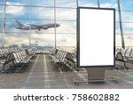 airport departure lounge. blank ... | Shutterstock . vector #758602882