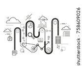 flat line illustration of... | Shutterstock .eps vector #758609026