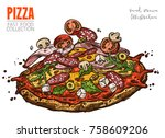 pizza with salami  ham  cherry... | Shutterstock .eps vector #758609206