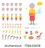 grandmother for animation.... | Shutterstock .eps vector #758610658