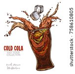 glass with splash of cola and... | Shutterstock .eps vector #758610805