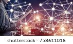 close of businessman holding... | Shutterstock . vector #758611018
