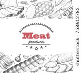 vector background with meat... | Shutterstock .eps vector #758612782
