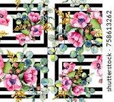 wildflower bouquet pattern in a ... | Shutterstock . vector #758613262