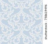 damask pattern vector... | Shutterstock .eps vector #758619496