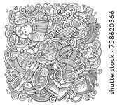 cartoon vector doodles winter... | Shutterstock .eps vector #758620366