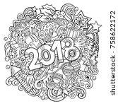 cartoon vector cute doodles... | Shutterstock .eps vector #758622172