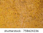 gold   yellow tiles at buddhist ... | Shutterstock . vector #758624236