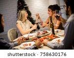 friends celebrating christmas... | Shutterstock . vector #758630176