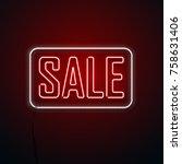 black friday background. neon... | Shutterstock .eps vector #758631406